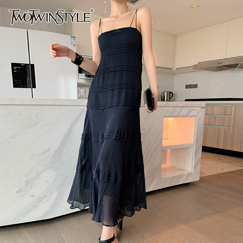 TWOTWINSTYLE Spaghetti Strap Dress For Women Off Shoulder Backless High Waist Ruffle Sexy Party Dresses Female 2020 Summer New