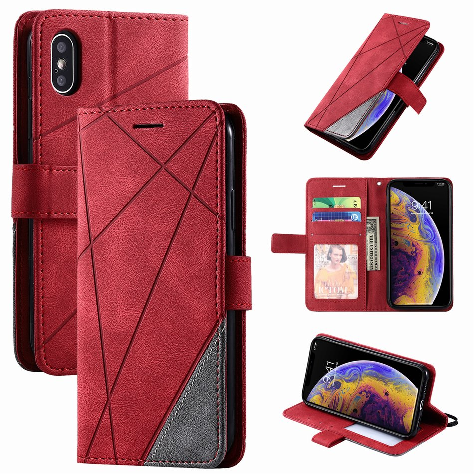 Stand Business Phone Holster For Redmi 7 7A 8 8A Note 8T 9 Pro 9S K30 K20 Mi 10 Stripe Wallet Rhombus Case Hit Color Cover D21G(China)