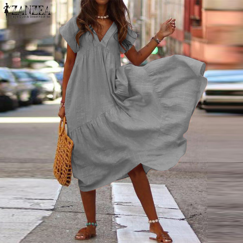 Fashion Tunic Midi <font><b>Dress</b></font> <font><b>Women's</b></font> Summer Sundress ZANZEA <font><b>2019</b></font> <font><b>Sexy</b></font> V Neck Asymmetrical Vestidos Female Plus Size Ruffle Robe image