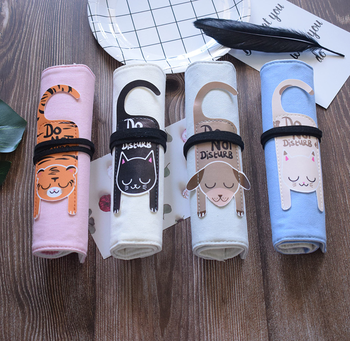 Cute Animal Cat Pencil Case For Girls Boys Canvas School Pencil Case Roll Up Portable Pencil Bag Box School Stationery Gift