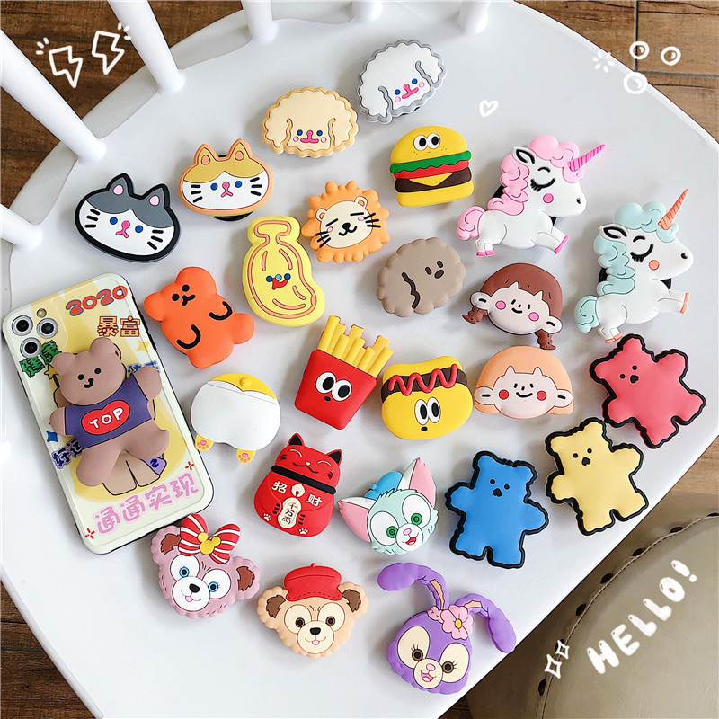 Cute Cartoon Folding Stand Holder For Mobile Phone For Iphone 11 XS Max Pad For Huawei For Samsung Grip Contraction Bracket