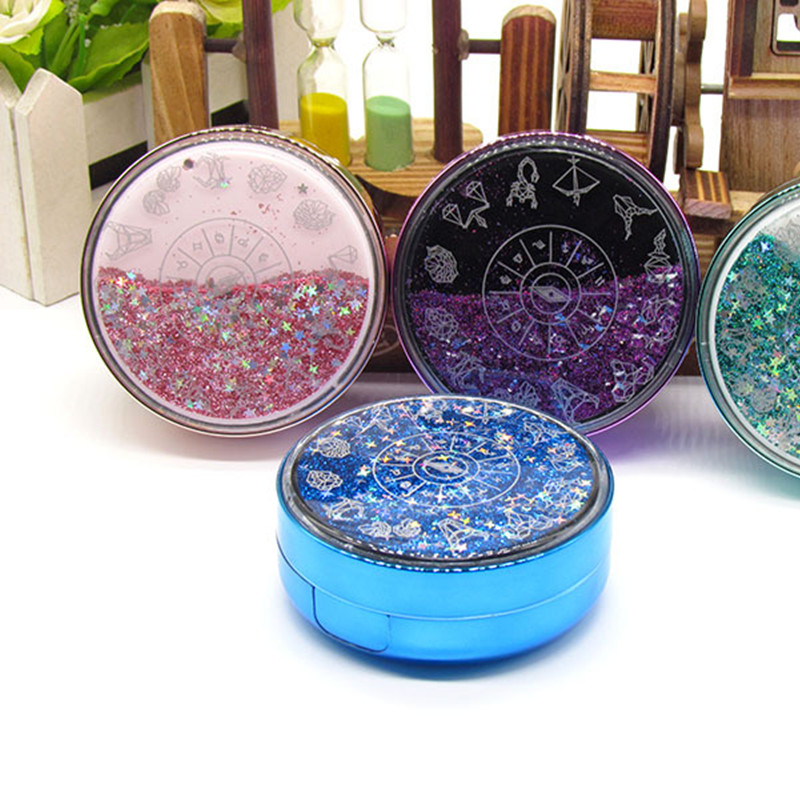 Circular Moon Stars Contact Lens Care Box Mate Holder Contacts Lenses Case