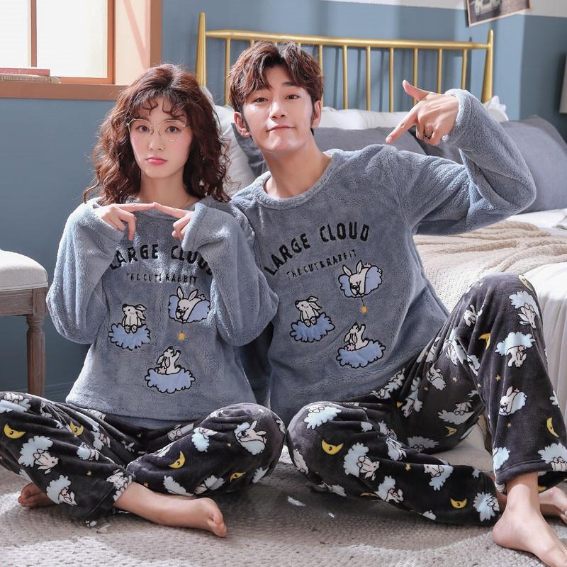 Pajamas Set Sleepwear Winter Thick COUPLE Flannel Men Women Cute Cartoon Coral Fleece Warm Tracksuit Women's Pajama Sets