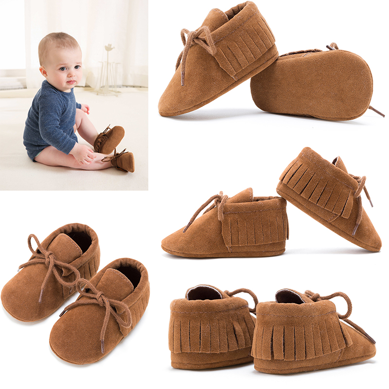 REAKIDS Footwear Fringe Newborn-Shoes First-Walkers Soft-Soled Non-Slip Toddler Baby-Boys title=