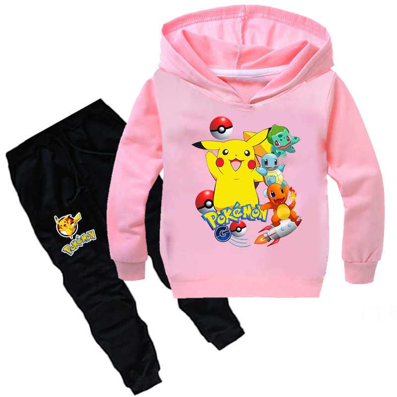 2-16Y moda Pokemon çocuk giyim seti çocuk giyim setleri karikatür bebek kız kıyafetler gençler Boys Pikachu spor elbise
