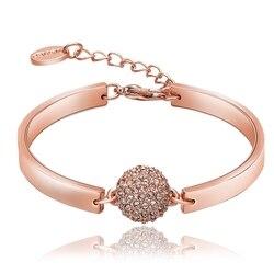 NCAB001 Zirconia piedra bola pulsera Plata de Ley 925 oro rosa plantado mujer boda
