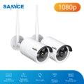 SANNCE 2 шт. FHD 1080P IP Wi-Fi H.264 + система видеонаблюдения с защитой от атмосферных воздействий камера s 100ft ночное видение с Smart AI P2P