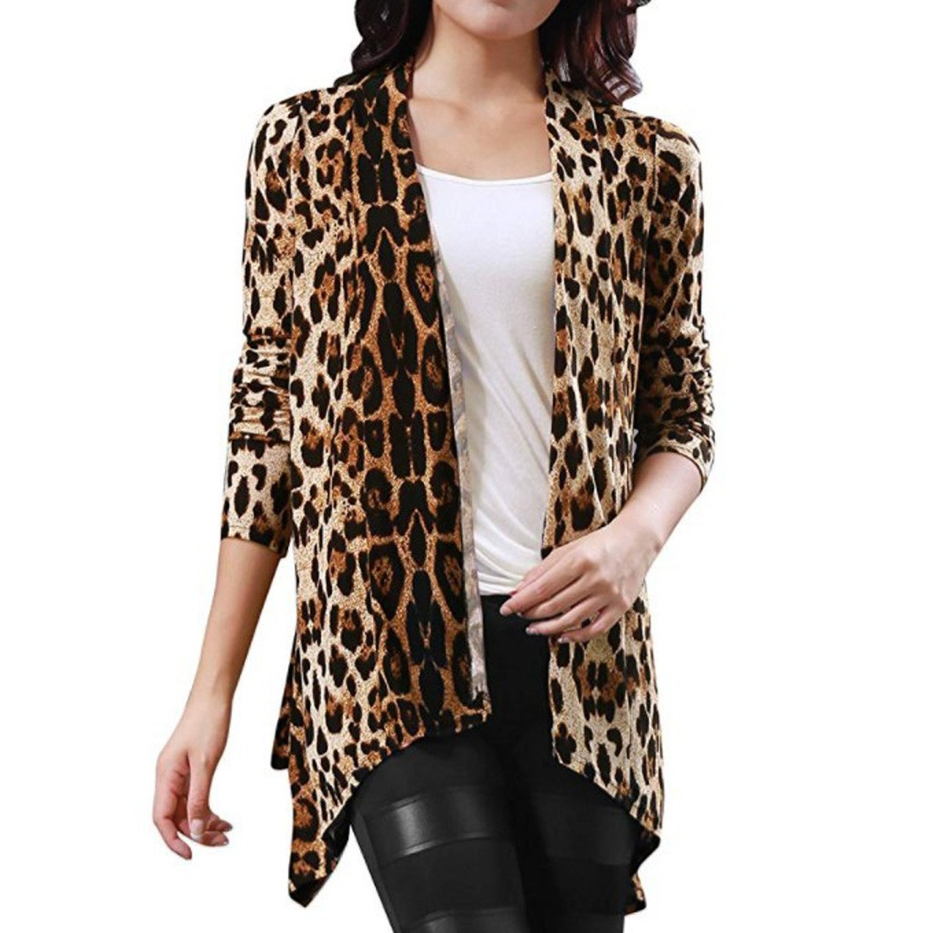 Leopard Print Irregular Hem Casual Cardigan Pullovers Women Long Sleeve women clothes 2020 trench coat for women mode femme #T