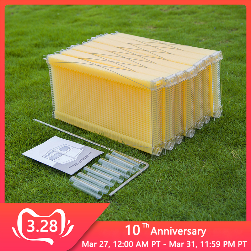 7pcs/pack Automatic Honey Bee Hive Plastic Honeycombs Honey Combs Beehive Frames For Beekeeping Tools Hive Garden Auto Bee Nest