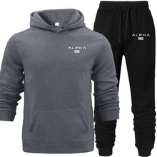 ALPHA Letter Printed Fleece Hooded Hoodies Set Autumn Out Wear Suit Winter Underwear Sports Fitness Cloth Hoodies with Pocket