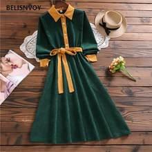 Mulheres verde retro outono vestidos de inverno feminino veludo vintage retalhos na altura do joelho escritório senhora vestidos elegantes chiques