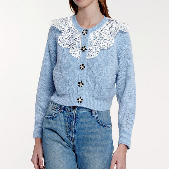 2021 New arrive high quality blue/white/black knitting sweater 1