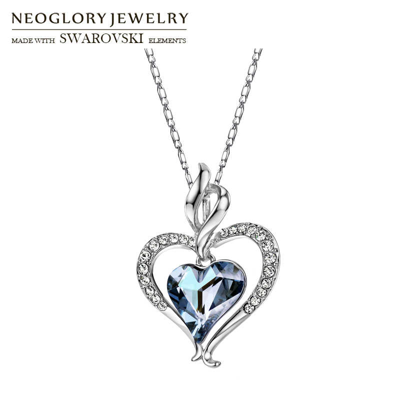 Neoglory Austria Crystal & Rhinestone Long Pendant Charm Necklace Romantic Blue Love Heart Lady Valentine's Memorial Gift Sale