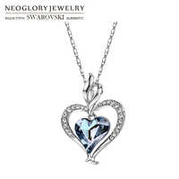 Neoglory Austria Crystal & Rhinestone Long Pendant Charm Necklace Romantic Blue Love Heart Lady Valentine's Memorial Gift Sale