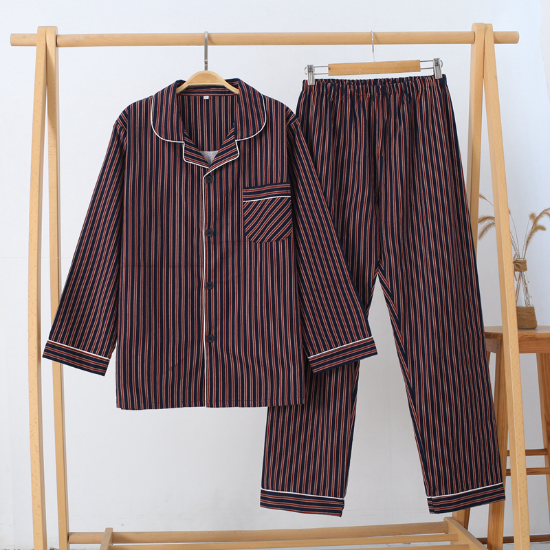 Autumn And Winter Men's Long-sleeved Pajamas Thick Cotton Striped Home Wear Set Turn-down Collar Sleepwear Men Leisure Suits