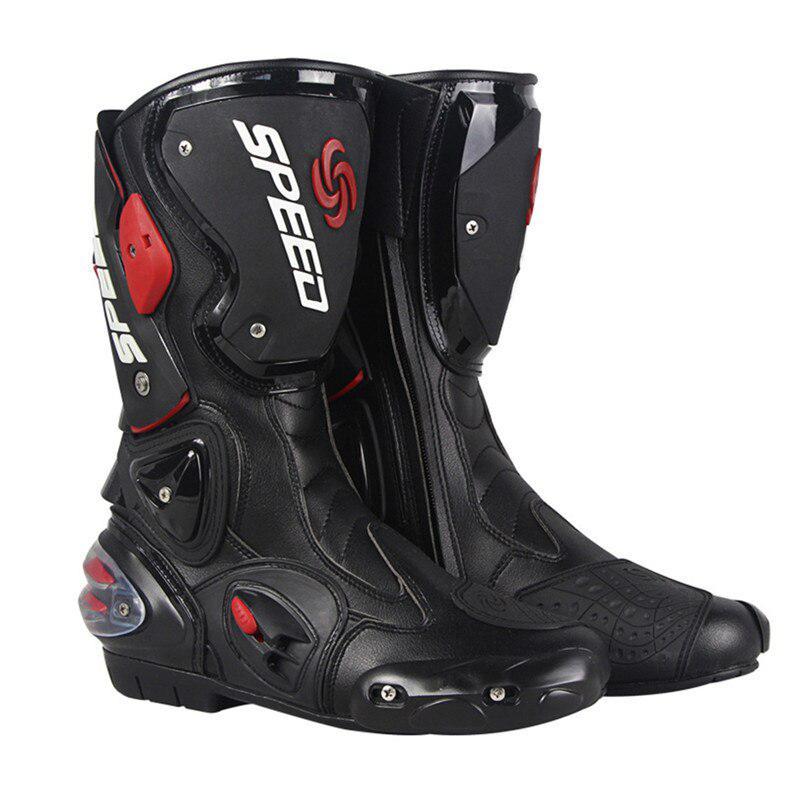 Profi Motorrad Racing Stiefel Leder Stiefel Geschwindigkeit Mid-Kalb Schutz Gears Motocross Stiefel Motorrad Schuhe