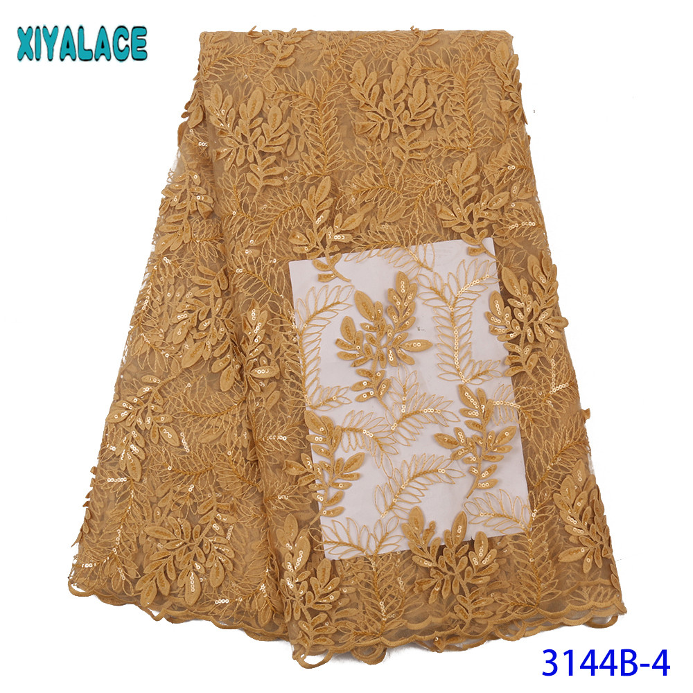 Gold French Lace Fabric Net Lace Fabric 2019 Sequin Fabric Embroidery Sequence Lace Fabric For Wedding KS3144B