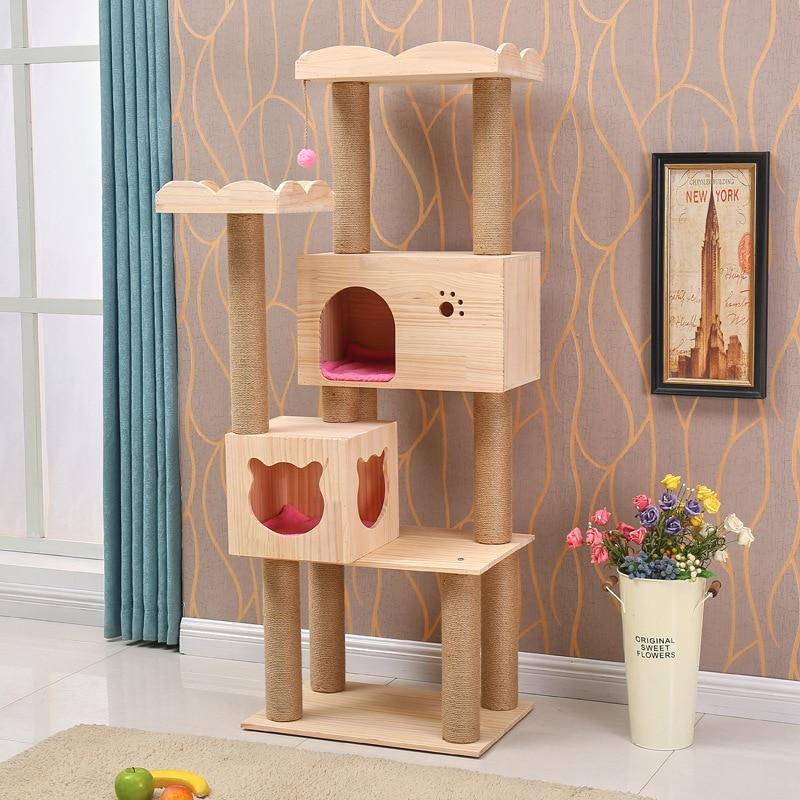 Cat Crawler Solid Wood Pet Nest Cat Products Grab Column Large Plate Cat Toy Pet Supplies Camas De Princesa Cat Bed House