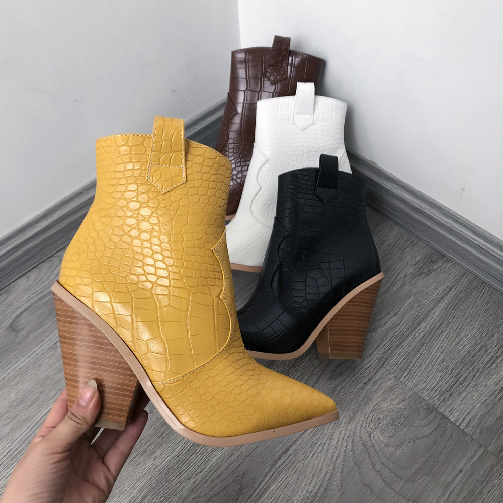 Black White Brown Yellow Autumn Winter Ankle Boots for Women Western Cowboy Boots Woman Wedge High Heel Boots Pointed Toe 2019
