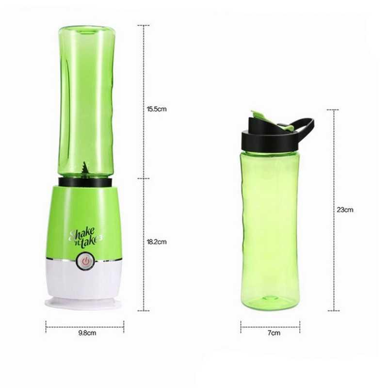 1-Botão de Operação Espremedor Liquidificador Smoothie Blender Frasco Bebendo 500 Ml 4 Lâminas de Aço Inoxidável Verde Plugue DA UE