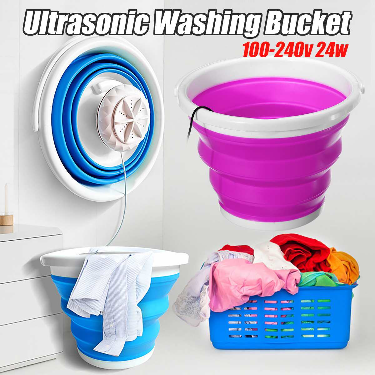 100-240v Mini Portable Ultrasonic Washing Machine Foldable Bucket Type USB Laundry Clothes Washer Cleaner for Home Travel image
