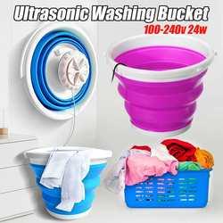 Darmowa wysyłka 100-240v Mini przenośna pralka ultradźwiękowa składane wiadro typu USB ubrania do prania podkładka do podróży w domu