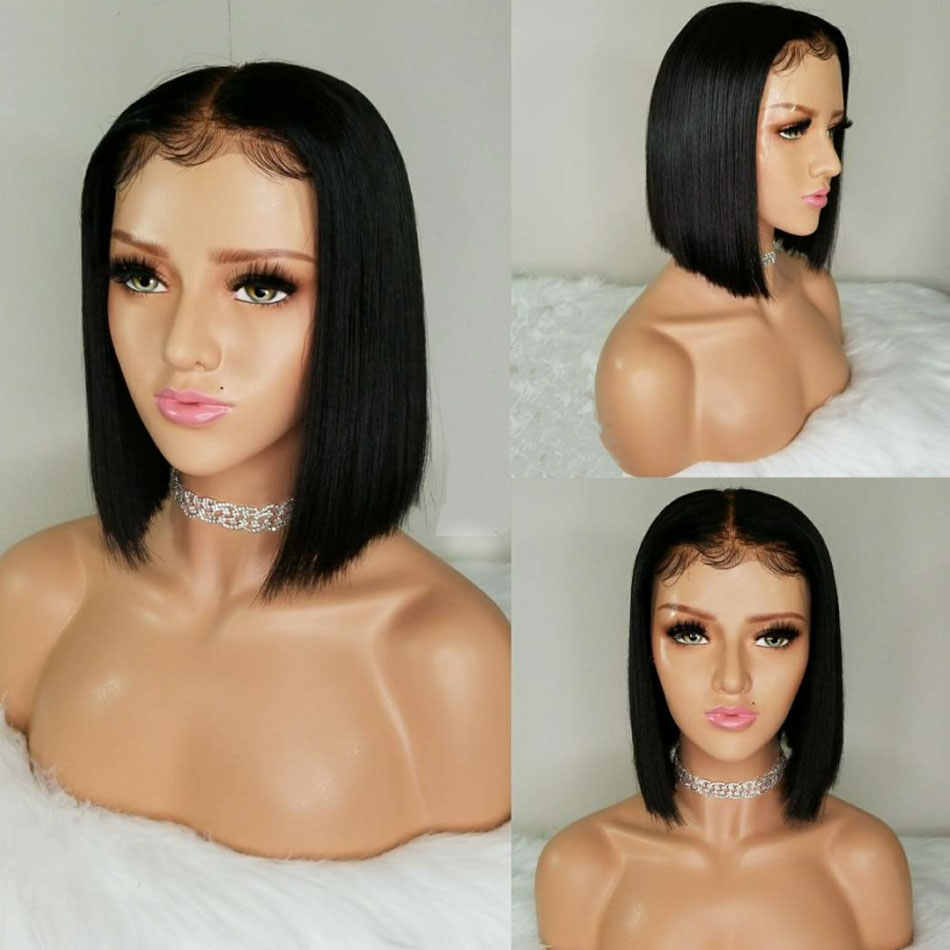 13x4 Short Lace Front Human Hair Wigs For Black Women Pre Plucked Brazilian Hair Remy Straight Bob Wig Real Human Hair Wigs