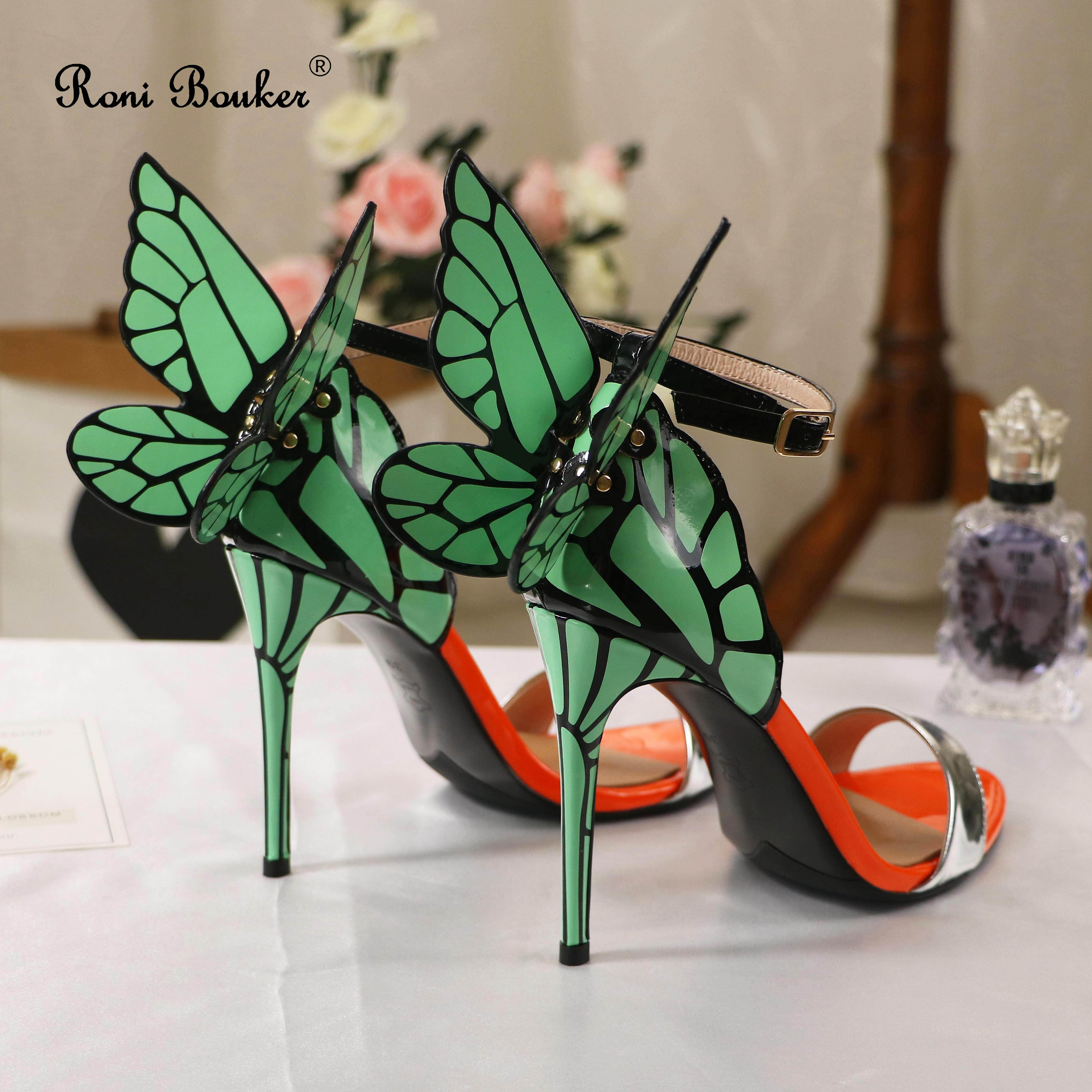 Roni Bouker ผู้หญิง Strappy รองเท้าส้นสูงผู้หญิงรองเท้าแตะส้นของแท้หนังฤดูร้อนรองเท้าผู้หญิง Wing รองเท้าแตะ Dropshipping-ใน รองเท้าส้นสูง จาก รองเท้า บน   1