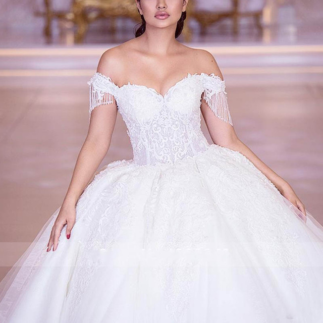 Luxury Beaded Lace Wedding Dresses Gorgeous Off Shoulder Tulle Bridal Wedding Gowns Sweetheart Princess Bridal Dress 2020 3