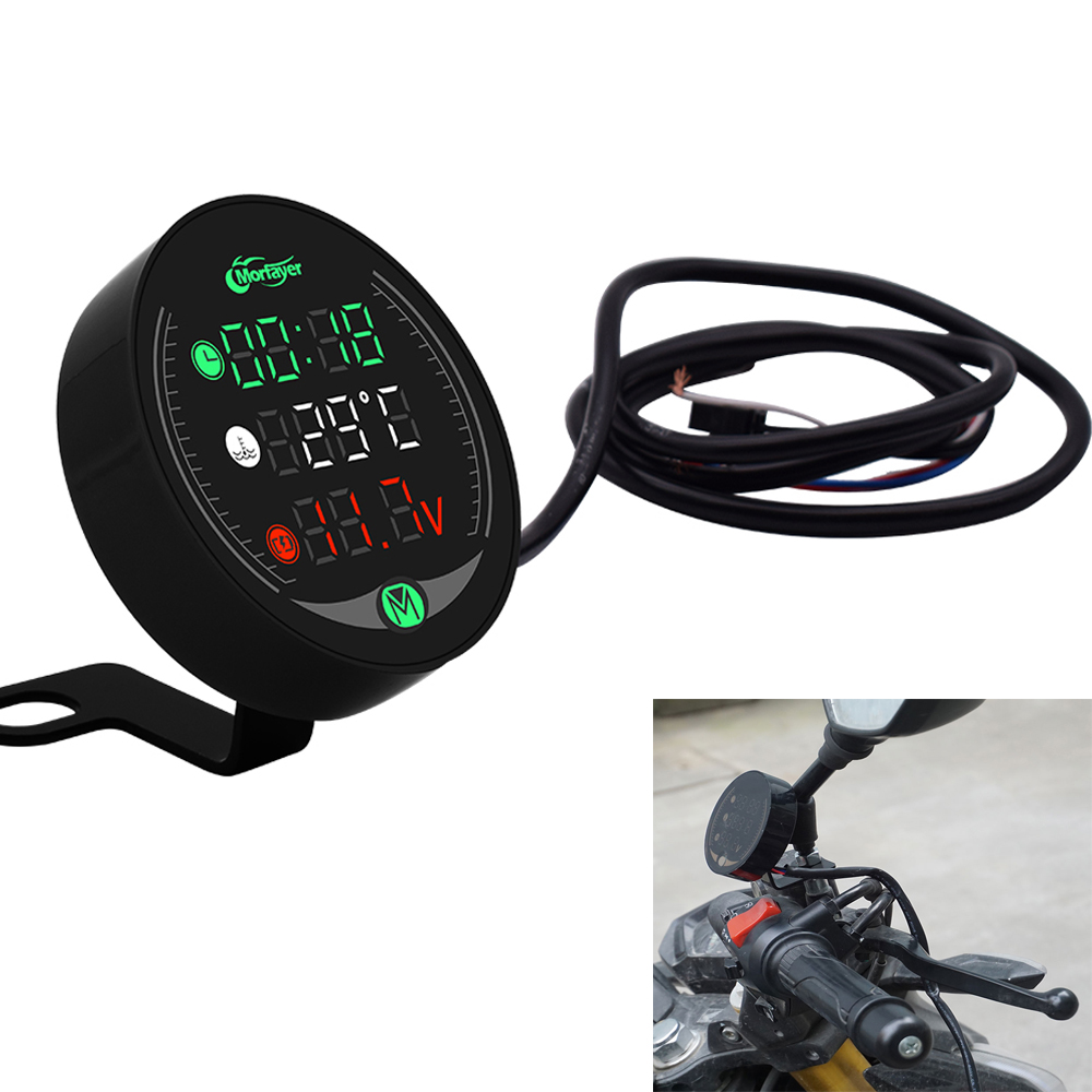 Motorcycle Meter Voltage Display Waterproof Voltage Meter Thermometer Clock 3in1 For Suzuki RMZ450 DRZ400SM DR250 DJEBEL dr 250 image