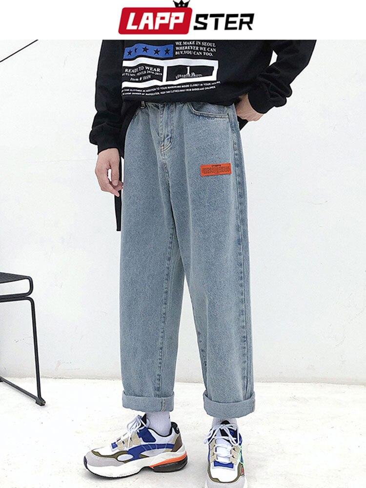 LAPPSTER Blue Jeans Pants Baggy-Belt Harem Harajuku Vintage Korean High-Quality Mens