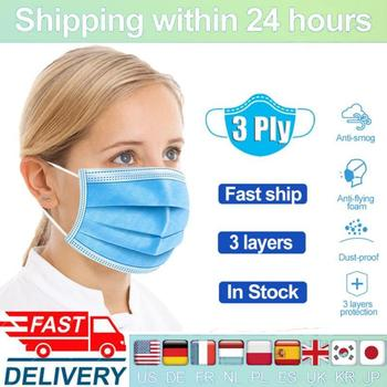 100pcs 3-layer Mask Face Mouth Masks Non Woven Disposable Meltblown Cloth Masks Mascarillas Masque