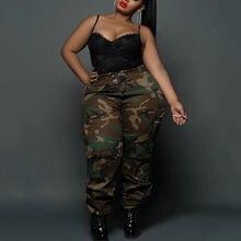 4xl 5xl размера плюс с камуфляжным принтом брюки для женщин