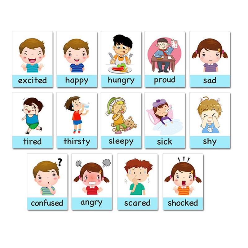 14pcs Kids Cognition Card Kids English Learning Cards Cartoon Emotion Card For Children Baby Early Educational Montessori Toys