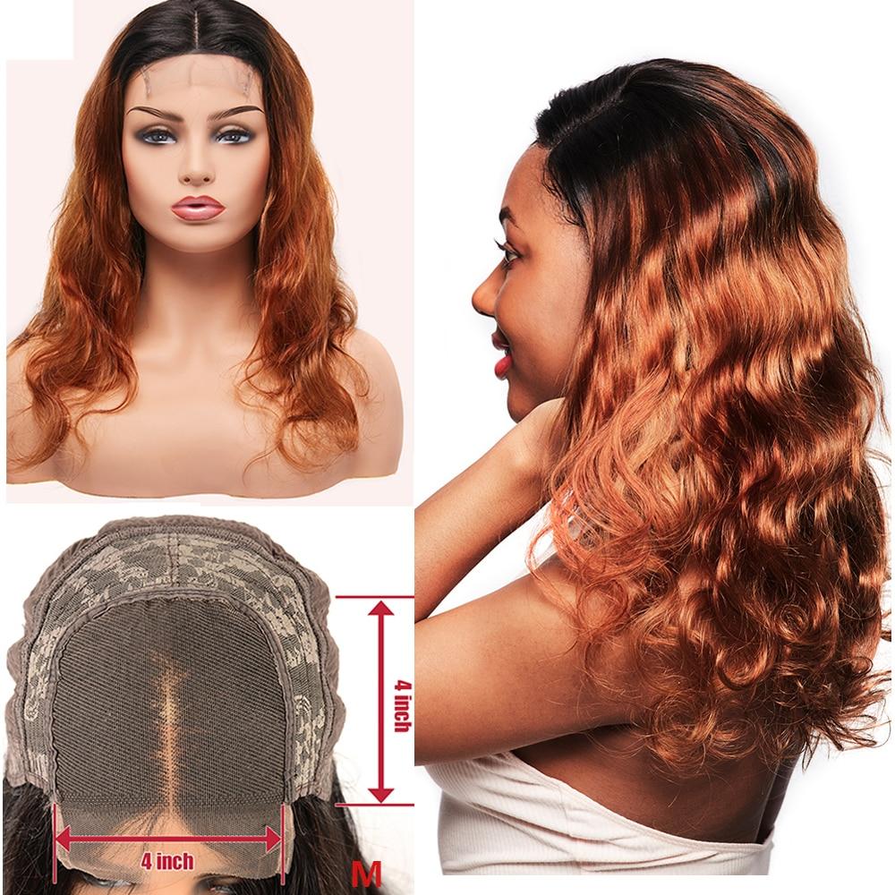 Body Wave Lace Wigs 4x4 Closure Colored  Wigs  Ombre Blonde Orange  Lace Closure Wigs 1
