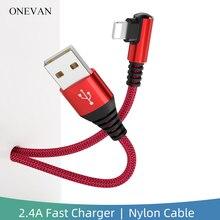 OneVan USB כבל 2.4A מהיר טעינת 90 תואר מרפק ניילון סוג C מיקרו USB כבל עבור Iphone Huawei Xiaomi סמסונג טלפון מטען