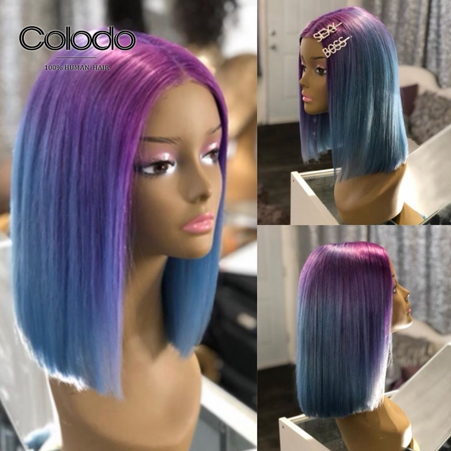COLODO 150% Density Blue Wig Human Hair Bob Lace Front Wigs For Women Brazilian Remy Ombre Purple Wig With Pre Plucked Hairline