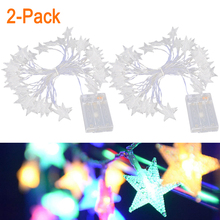 2 Pack 1.5/2/3/5/6/10m LED Star String Fairy Lights Garland Holiday Ha