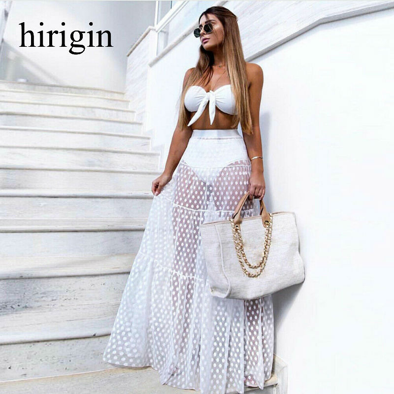 2020 Women Mesh Sheer Maxi Skirt Wrap Skirt Beach Tulle See Through Beachwear Swimwear Bikini Wear Cover Up Lace Crochet Skirt