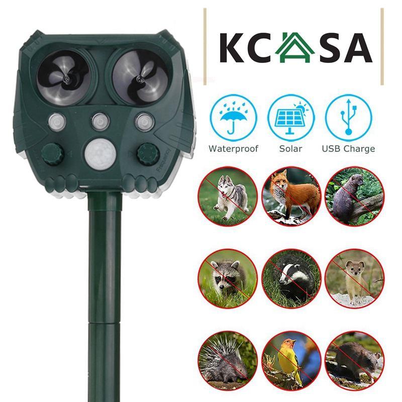 KCASA Outdoor Solar Ultrasonic Animal Repeller Garden Waterproof Pest Repeller Snake Cat Dog Bird Dispeller Keep Animals Away