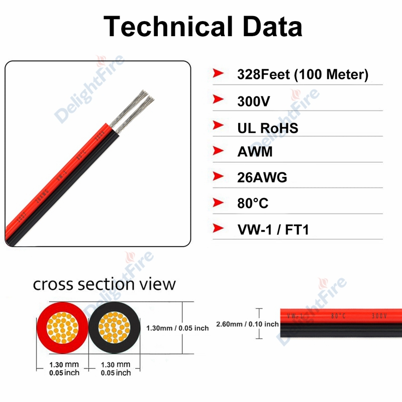 0.22mm ul2468 24awg 2 pinos cabo de
