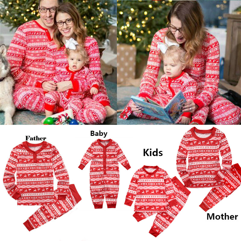 Family Matching Pajamas-Set Outfits Sleepwear Baby Kid Xmas Nightwear Party