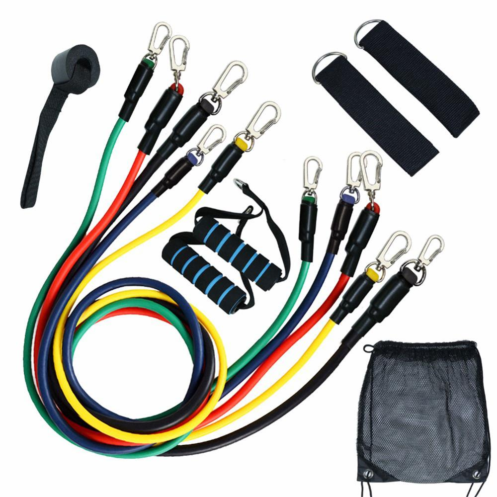 11Pcs Outdoor Excerciser Body Pull Rope Fitness Resistance Bands Kits Latex Tubes Pedal Exercises Training Workout Yoga