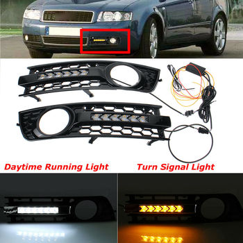 Car accessries DRL Lamp Turn Signal Flowing LED Mesh Grille Fog Light Decoration Fit for AUDI A4 B6 2001 2002 2003 2004 2005
