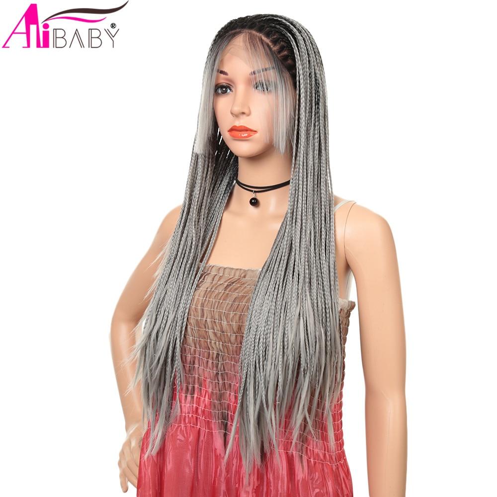 Longa micro trançado perucas sintéticas da parte dianteira do laço com o cabelo do bebê mão cheia amarrada ombre cor resistente ao calor para as mulheres alibaby