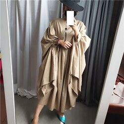 [EAM] Women Oversize Pleated Big Hem Dress New Round Neck Three-quarter Sleeve Loose Fit Fashion Tide Spring Autumn 2019 1A456 2