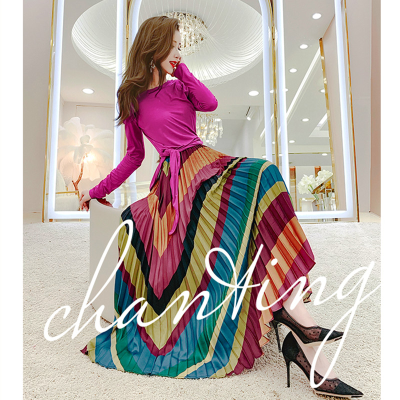 Runway Style Summer Skirt Suit Women Bows Tees Tops And Stripped Colorful Wave Vintage Print Retro Long Skirts Suits Set NS638