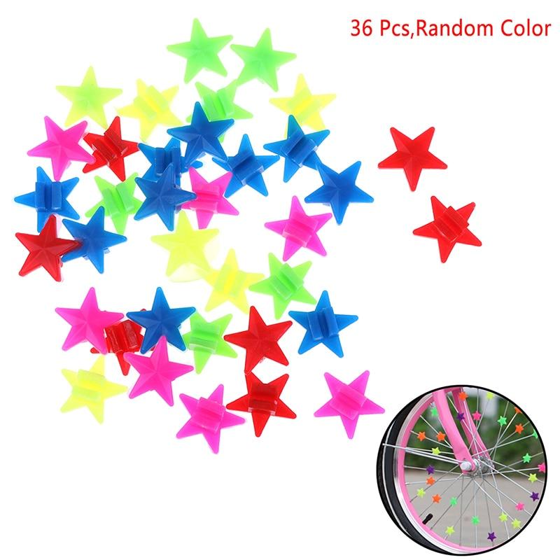 36Pcs Colorful Star Bike Bicycle Wheel Spoke Beads Luminous Plastic Clip Spoke Bead Bicycle Beads Wire Beads Decor