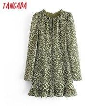 Moda de mujer Tangada verde estampado de puntos vestido de gasa de manga larga señoras elegante Mini vestido Vestidos 6M4