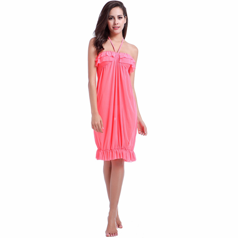 2019 Europe And America Lace Halter Sexy Ultra-stretch Mesh Dress Beach Holiday Skirt